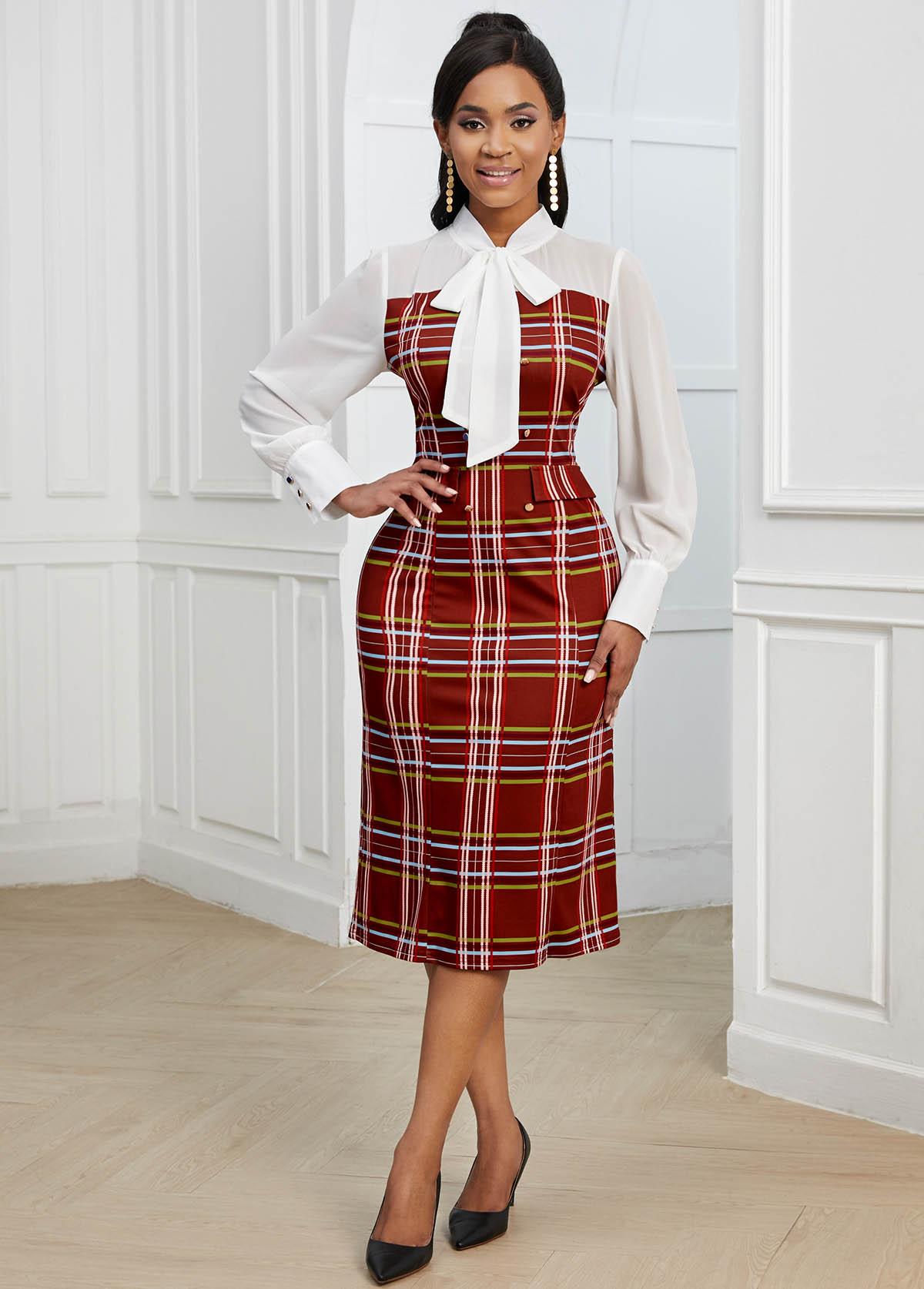 Plaid Bow Collar Long Sleeve Bodycon Dress