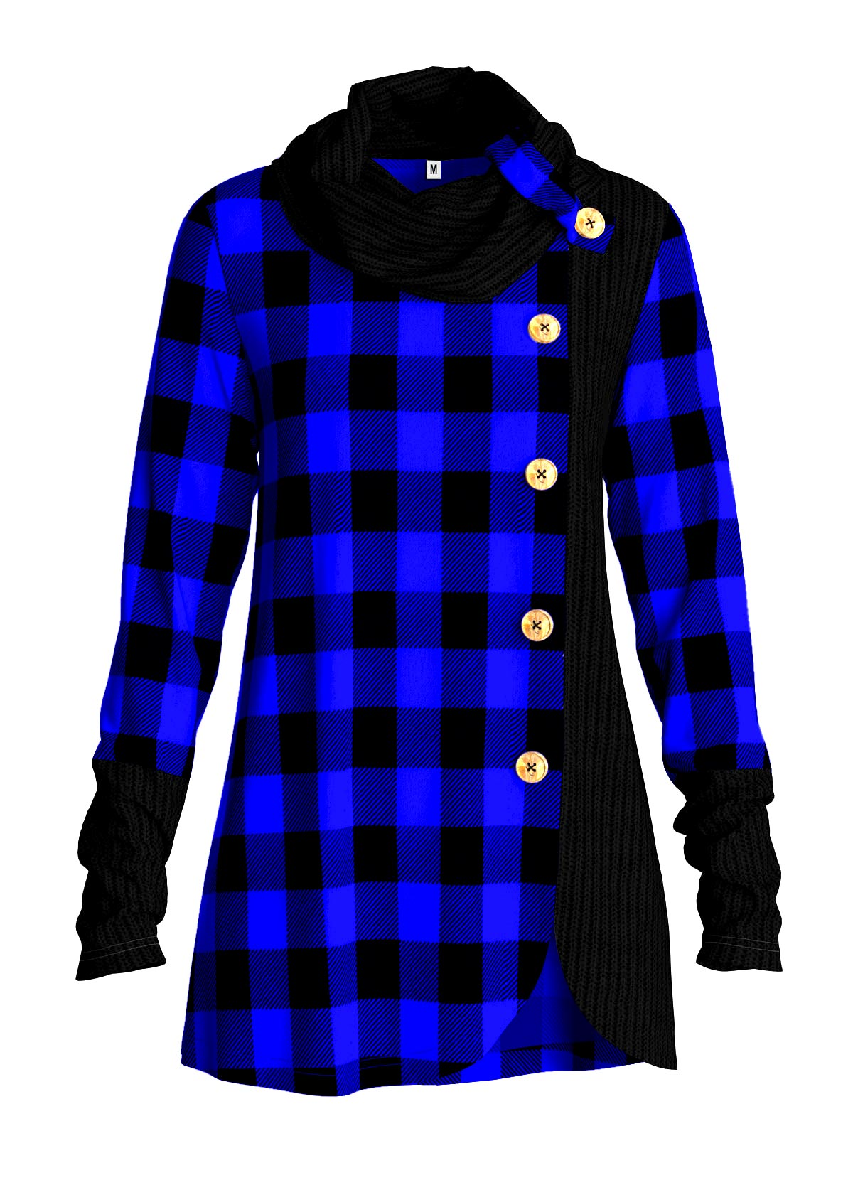 Asymmetric Hem Cowl Neck Plaid Tunic Top