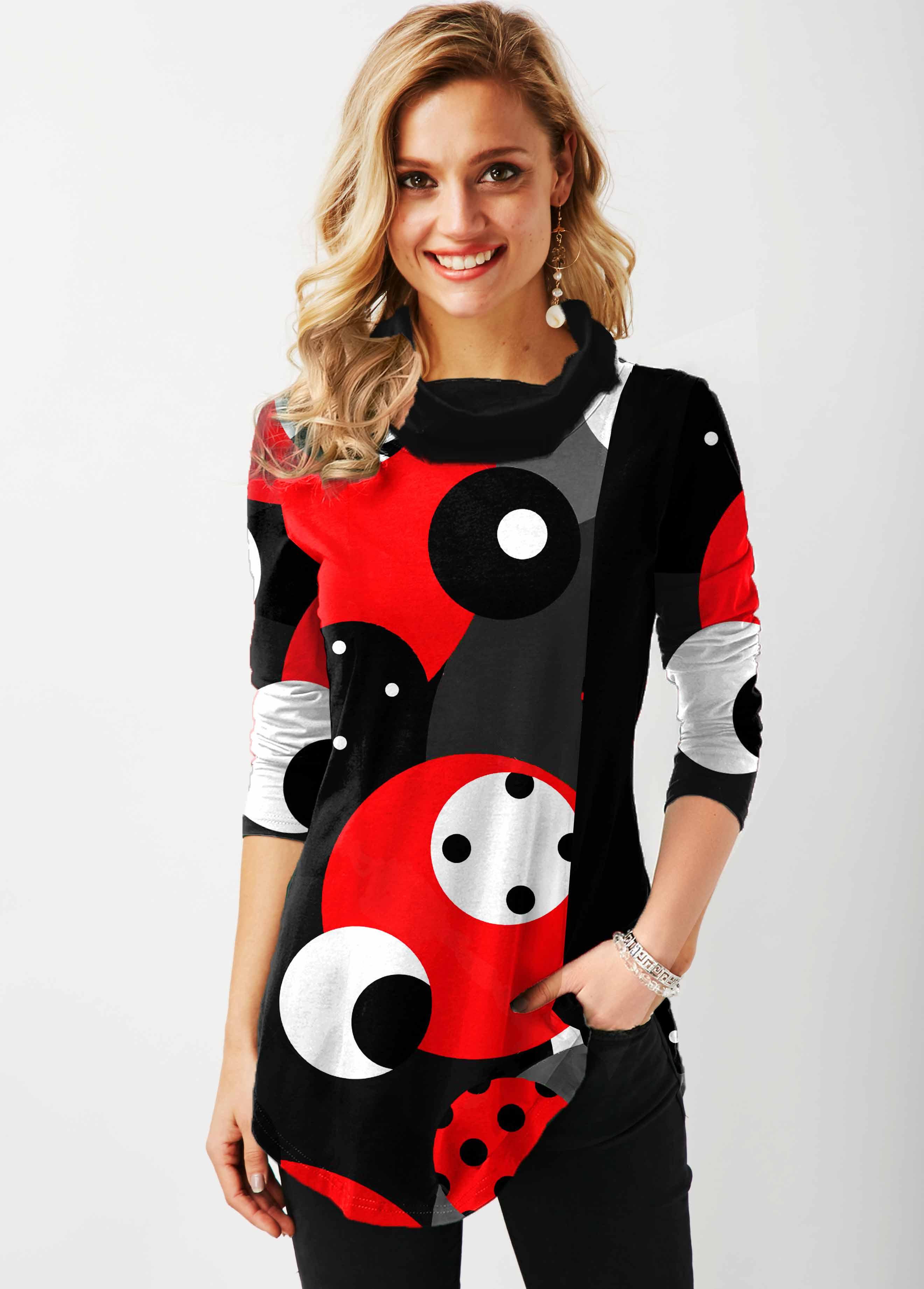 Cowl Neck Polka Dot Contrast Tunic Top