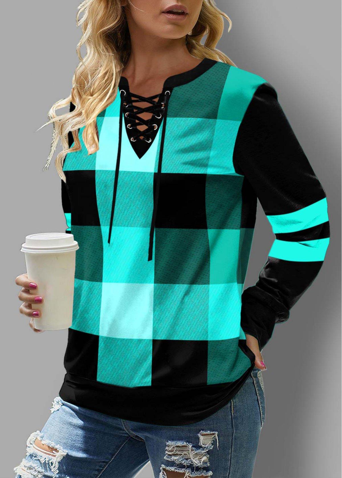 Lace Up Plaid Long Sleeve Sweatshirt