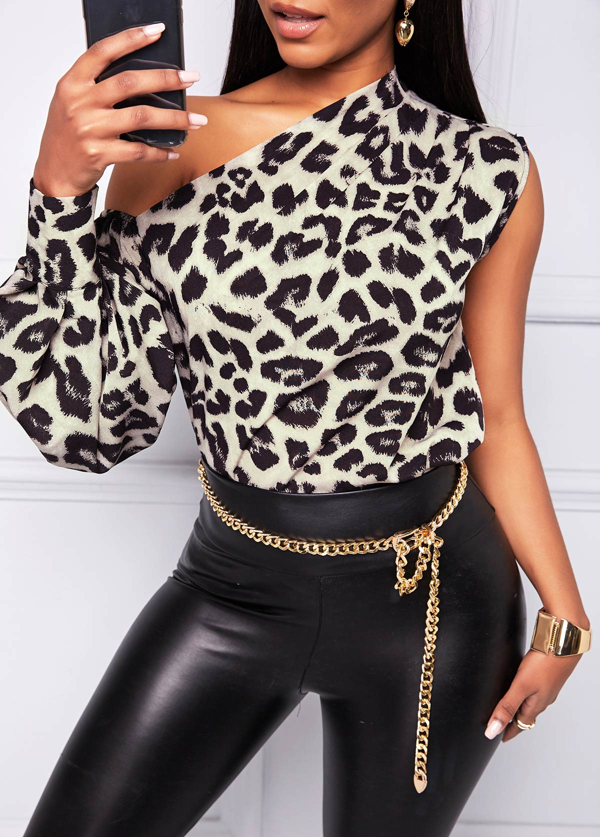 One Shoulder Leopard Long Sleeve T Shirt