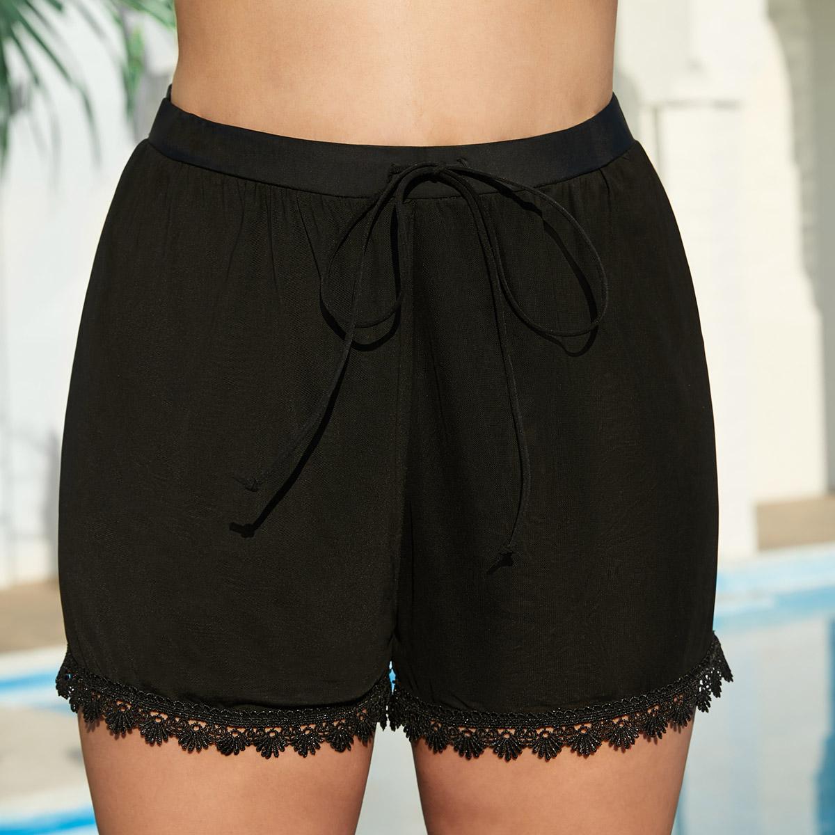 Lace Stitching Drawstring Waist Black Swimwear Shorts