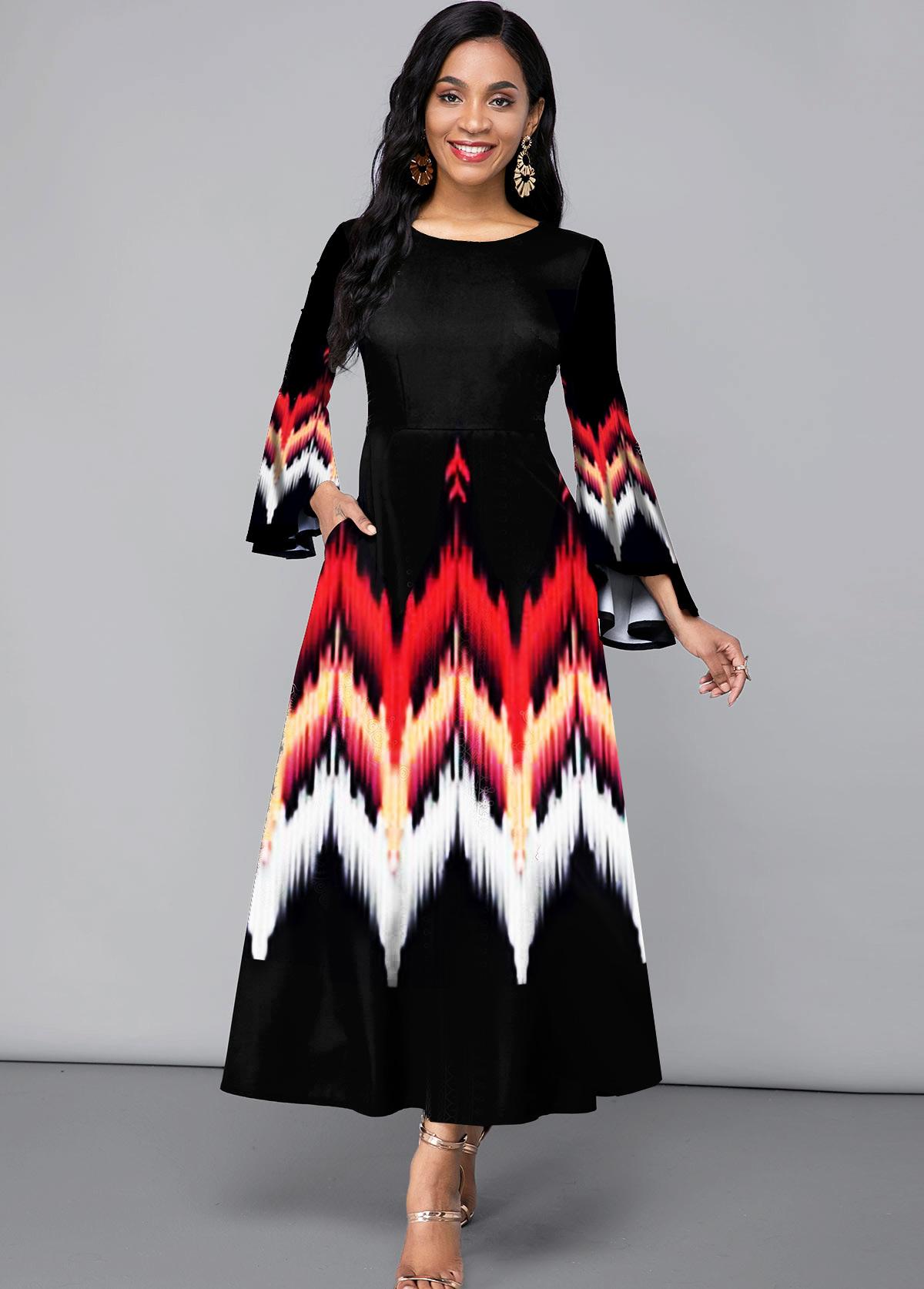 Printed Flare Sleeve Side Pocket Maxi Dress