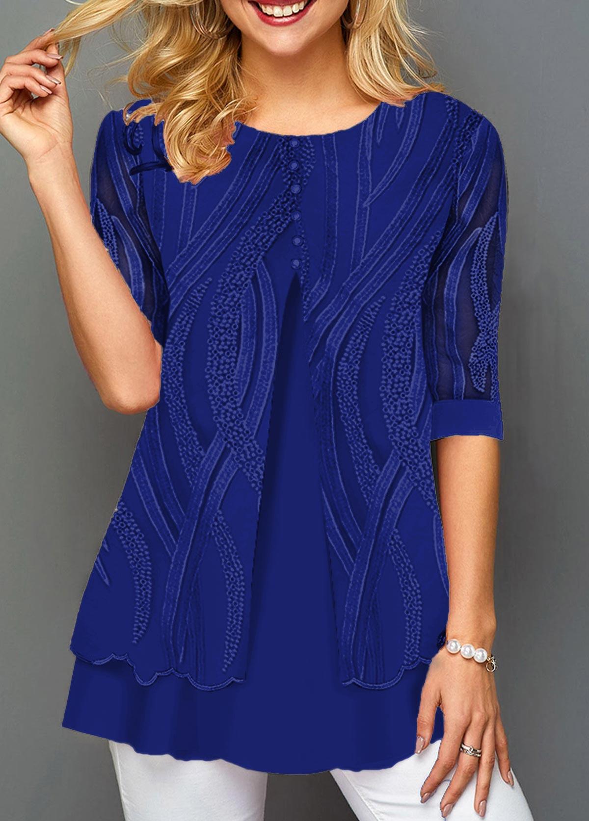 Layered Hem Lace Panel Round Neck T Shirt