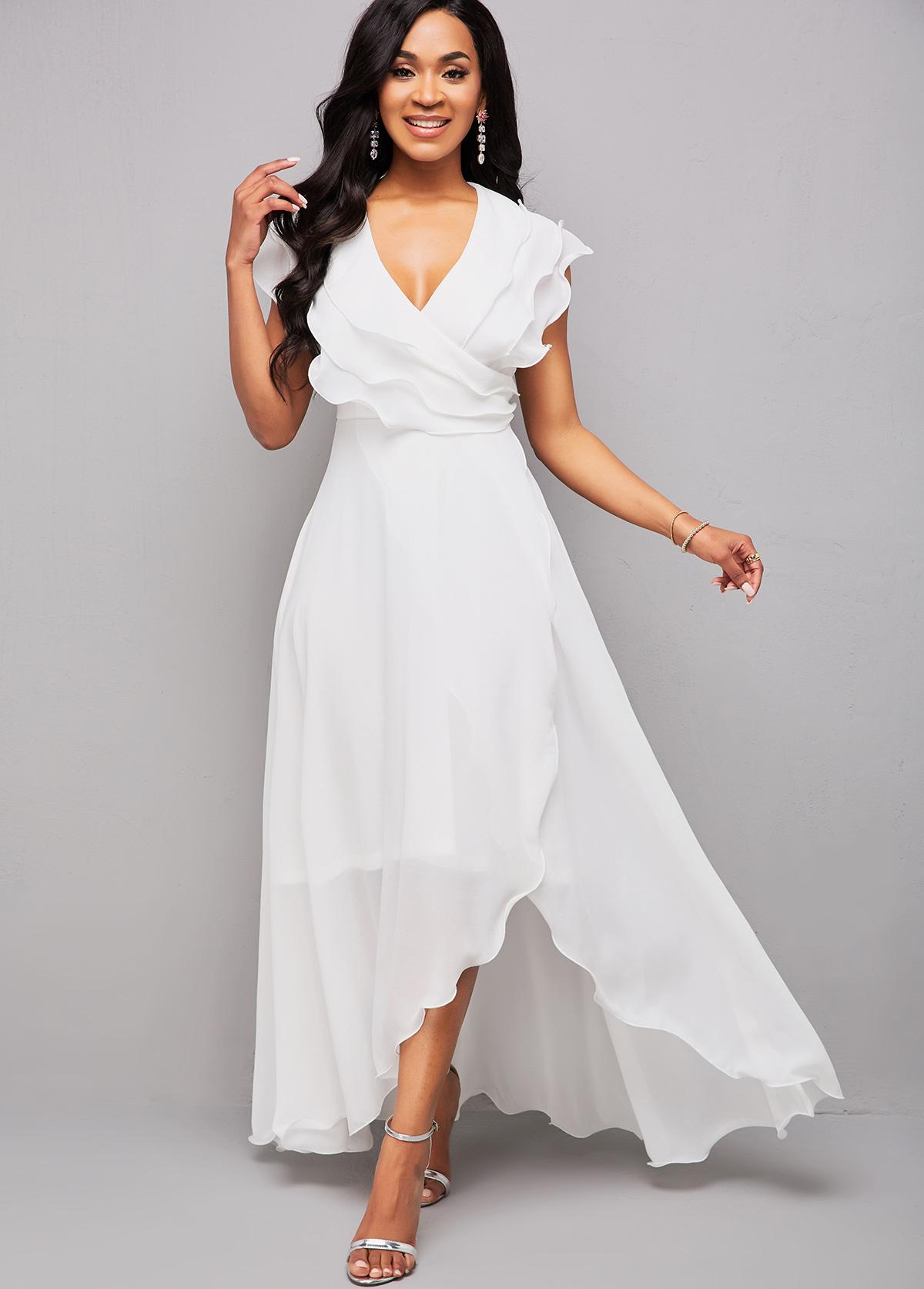 Asymmetric Hem V Neck Flounce Maxi Dress