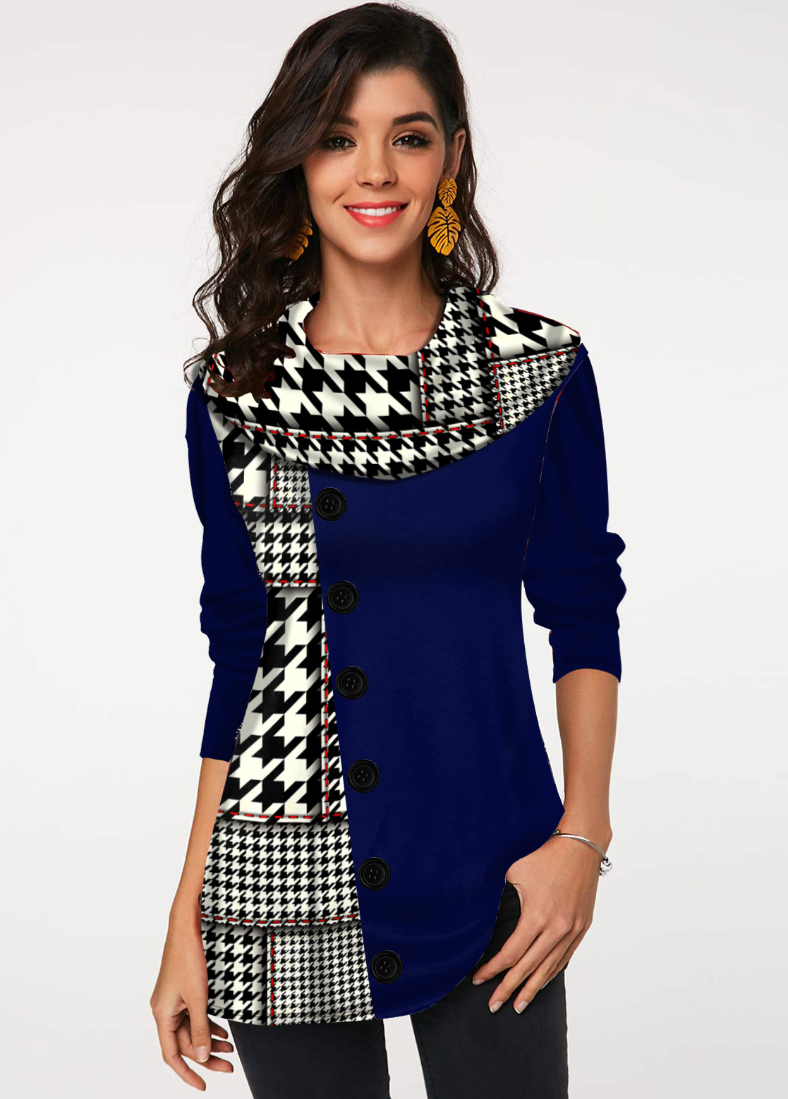 Long Sleeve Houndstooth Print Decorative Button Tunic Top