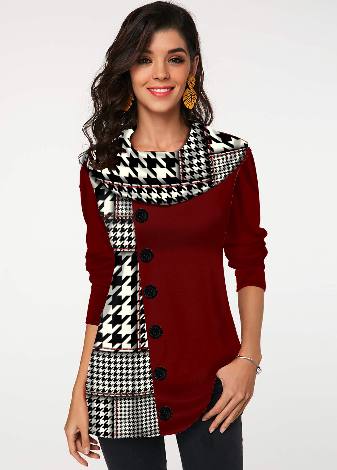 Houndstooth Print Decorative Button Long Sleeve Tunic Top