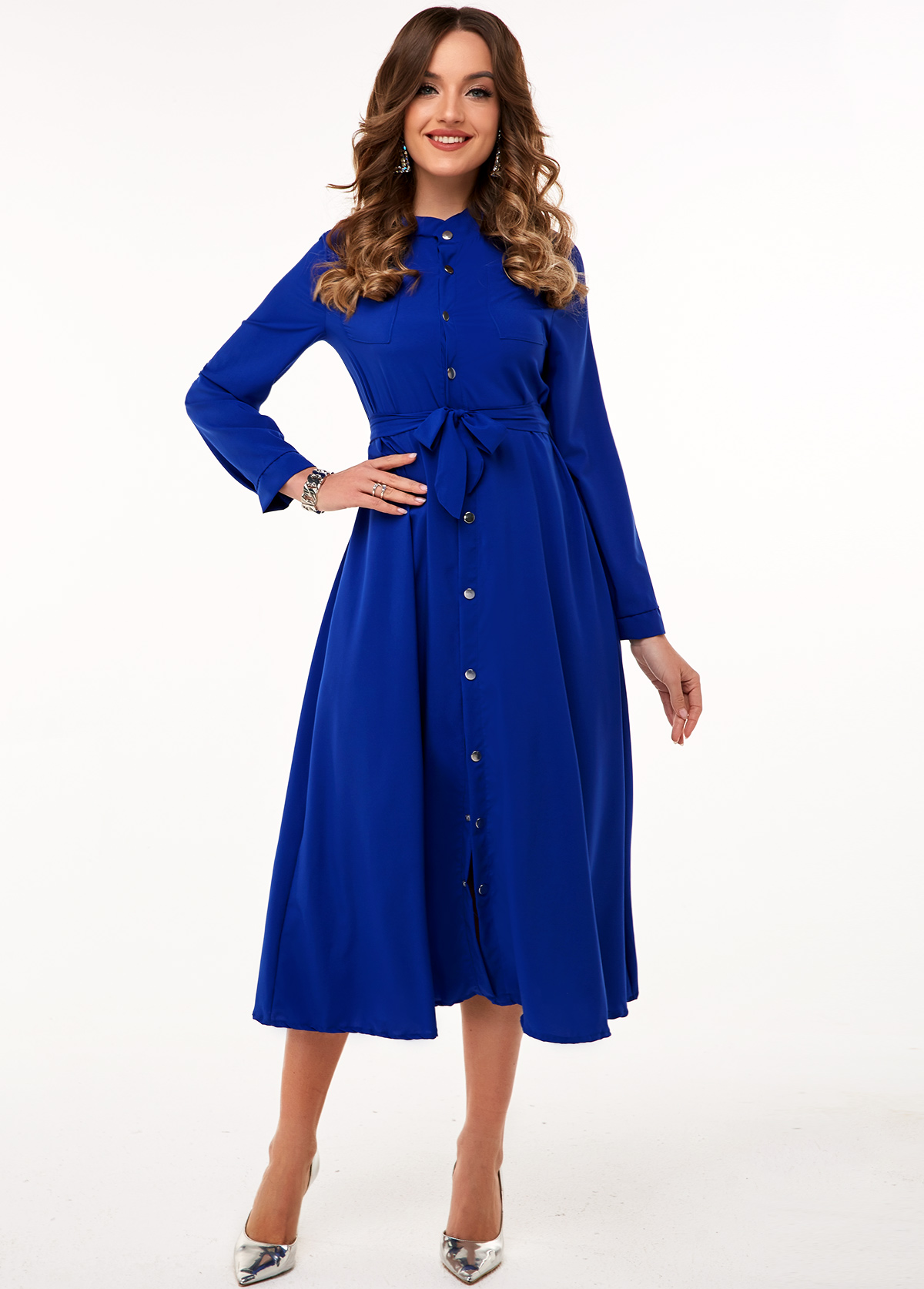 Button Up Long Sleeve Belted Dress