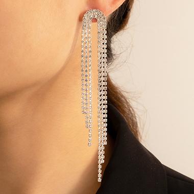 Rhinestone Detail Silver Metal Earring Set