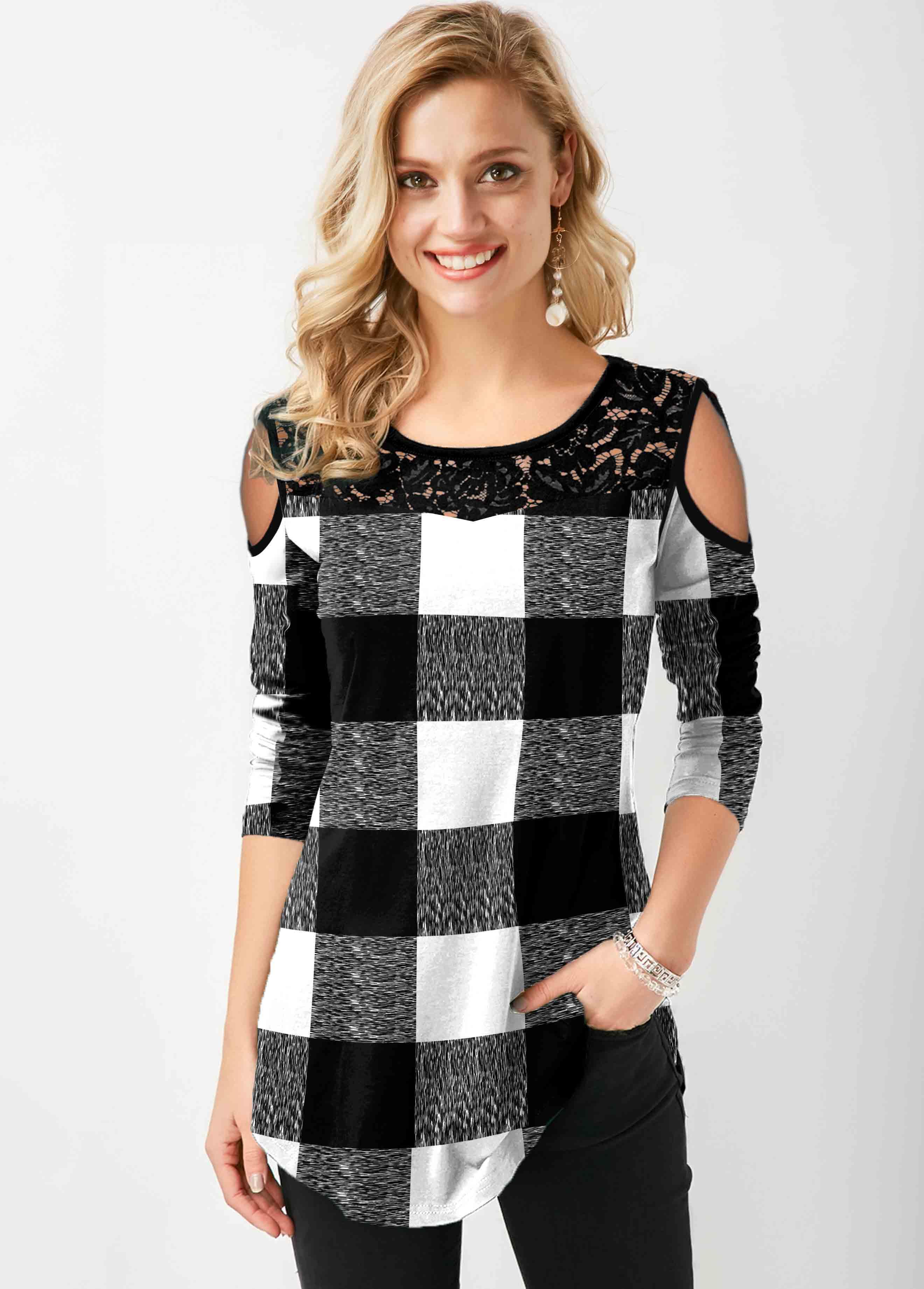 Plaid Cold Shoulder Lace Stitching T Shirt