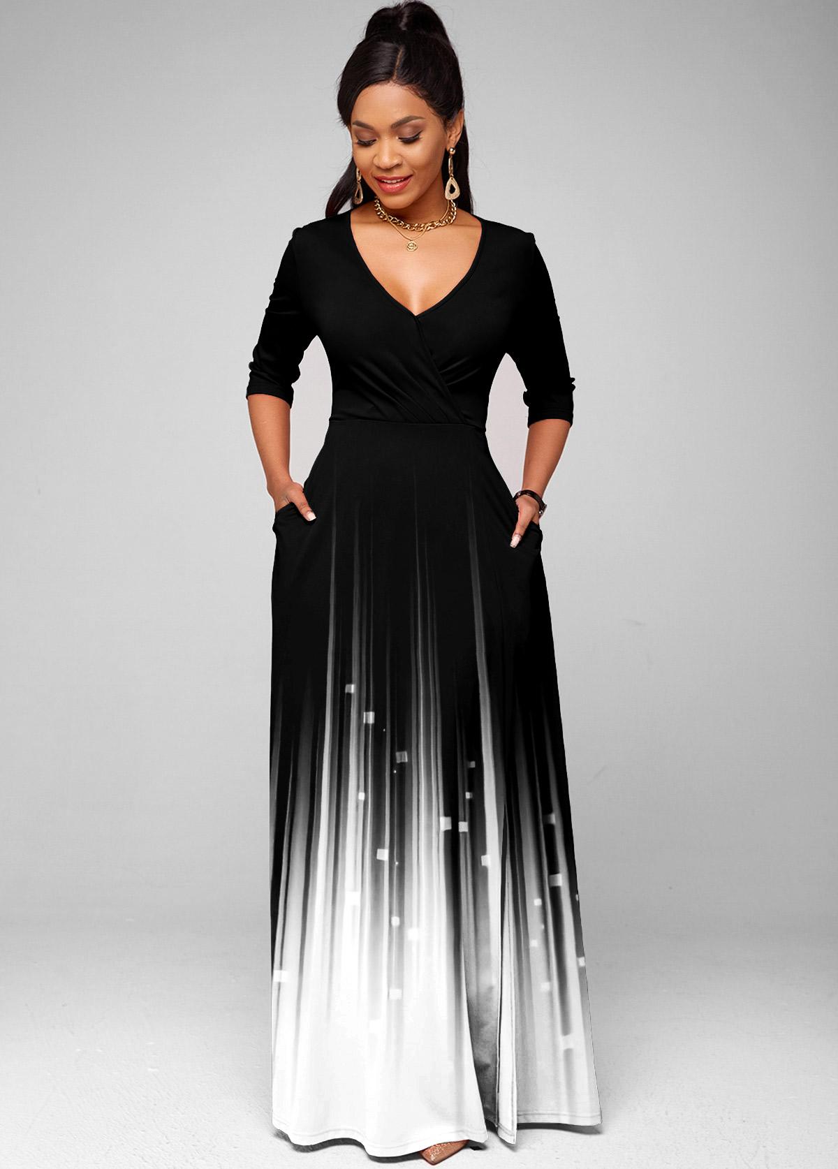Printed V Neck Side Pocket Dress