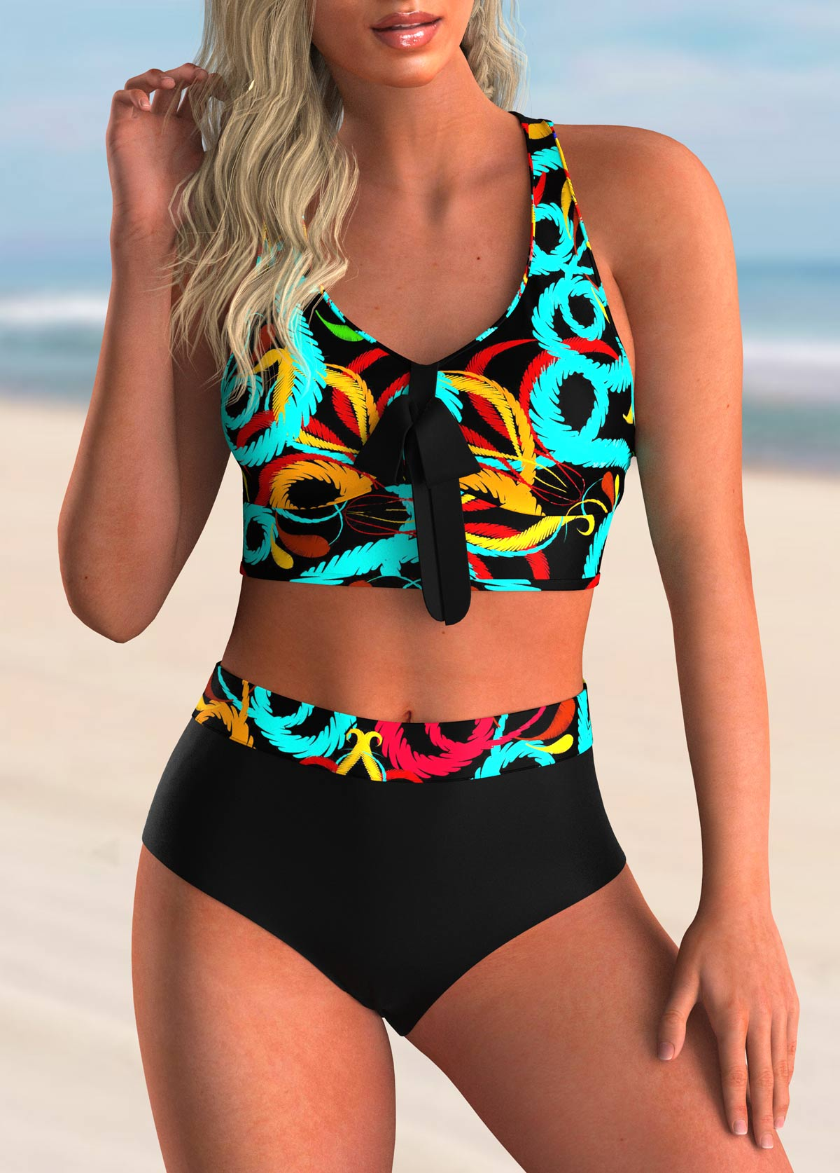 Printed Bowknot Cross Back Bikini Set