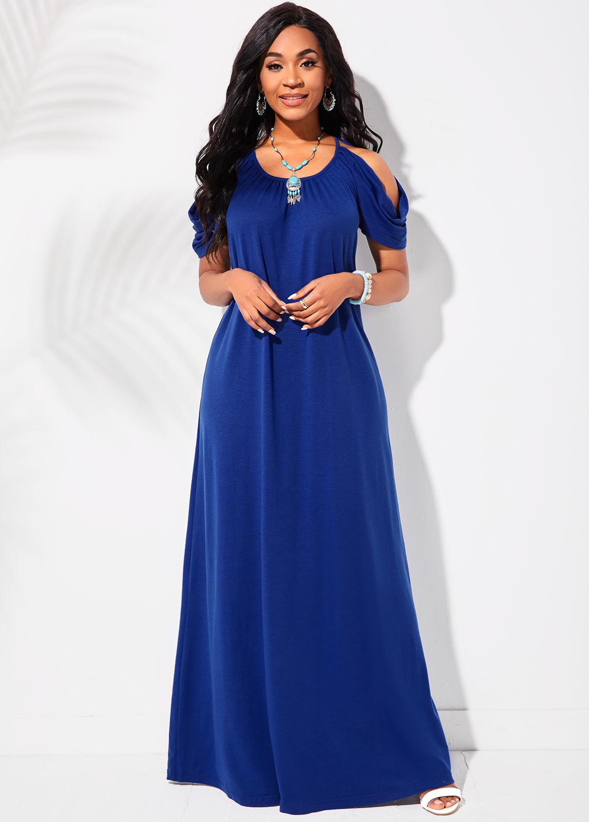Cold Shoulder Round Neck Royal Blue Maxi Dress