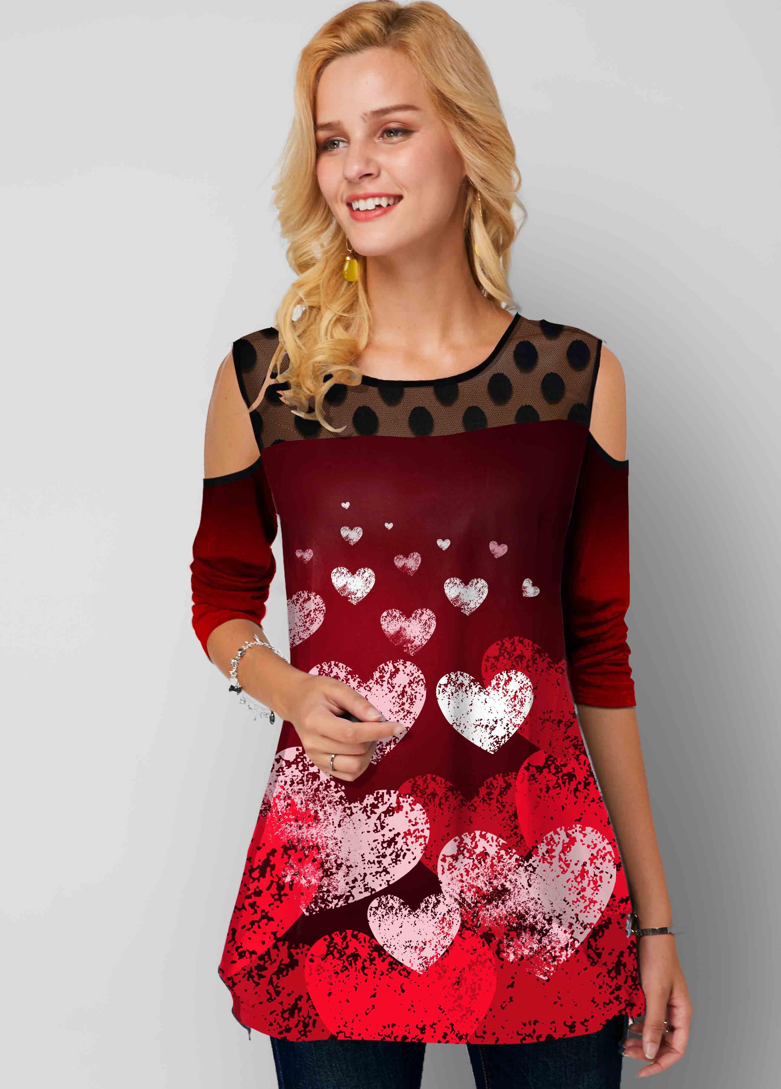 Heart Print Mesh Stitching Polka Dot Cold Shoulder Tunic Top