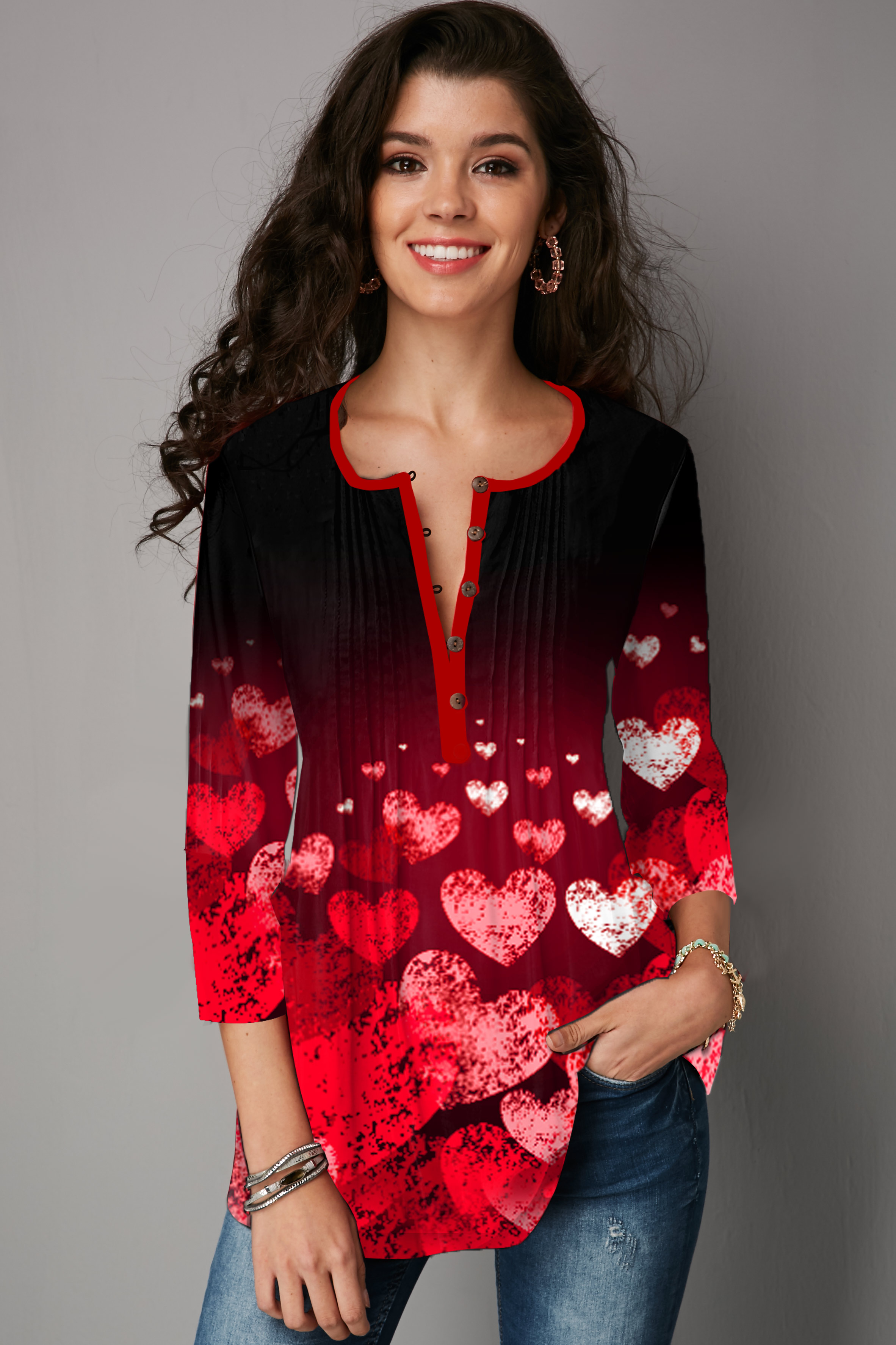Plus Size Heart Print Crinkle Chest T Shirt