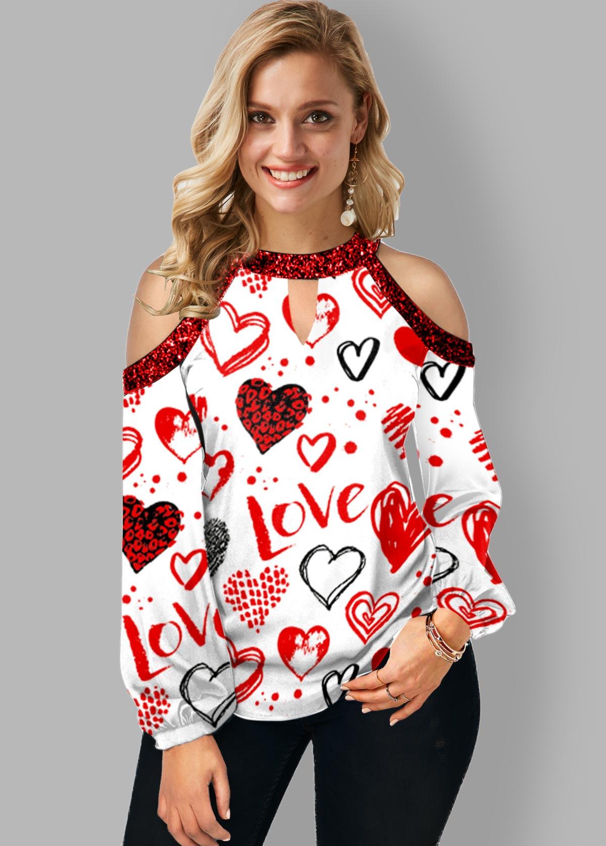 Cold Shoulder Heart Print Keyhole Neckline T Shirt