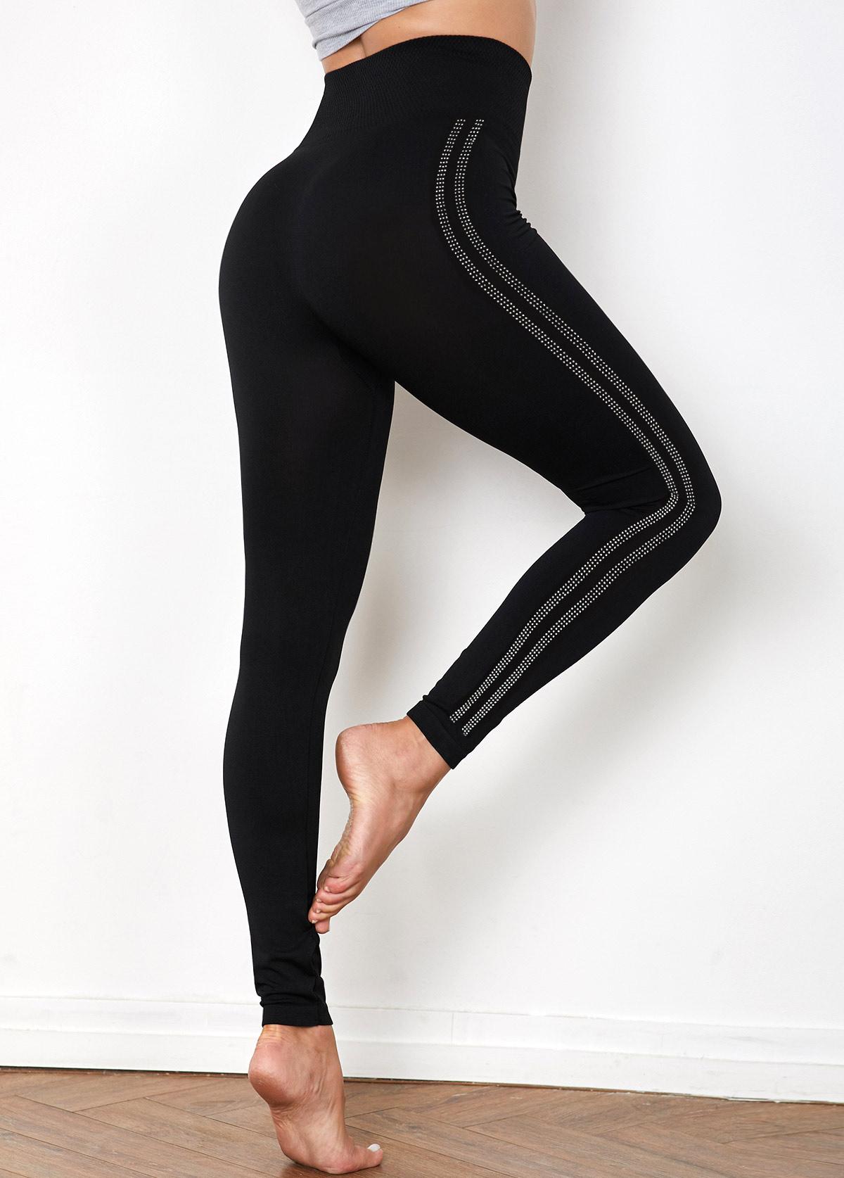 Super Elastic High Waist Hot Drilling Legging Pants