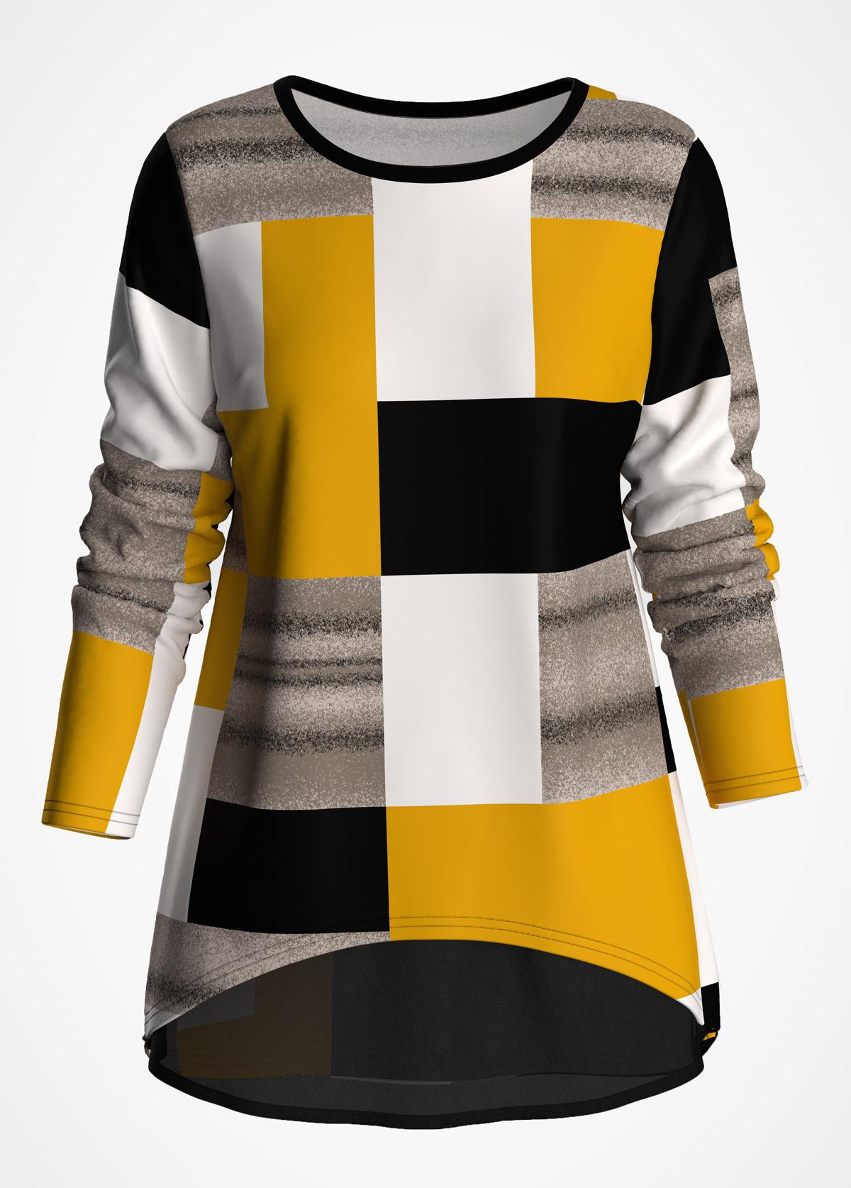 Geometric Print Chiffon Panel Long Sleeve T Shirt