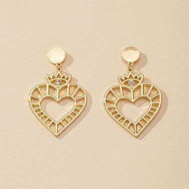 1.2 X 2.0 Inch Gold Metal Heart Earring Set