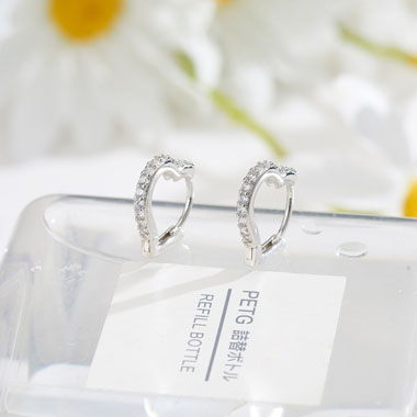 0.6 X 0.6 Inch Rhinestone Detail Silver Earring Set