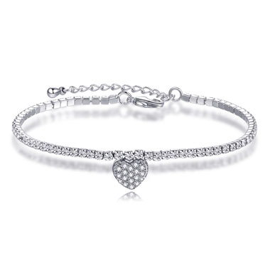 Heart Design Silver Metal Rhinestone Bracelet