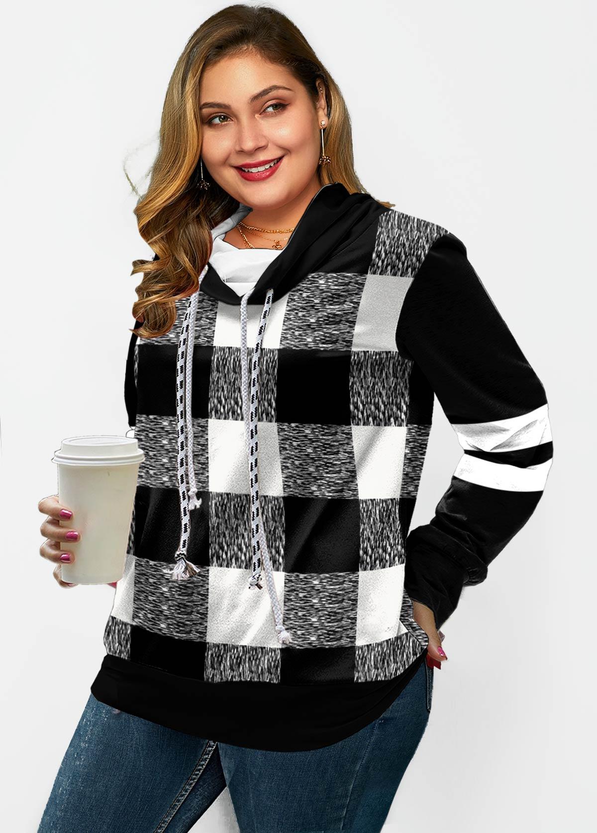 Plus Size Plaid Drawstring Long Sleeve Sweatshirt