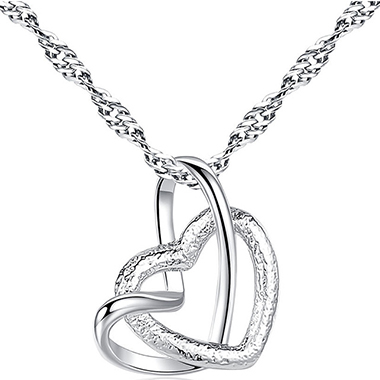 Double Heart Design Silver Metal Necklace