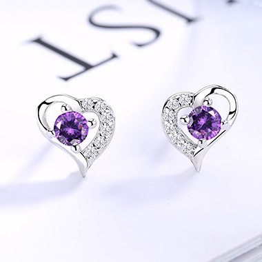 0.3 X 0.3 Inch Silver Heart Shape Ear Studs