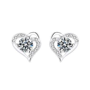 0.4 X 0.4 Inch Silver Heart Rhinestone Ear Studs