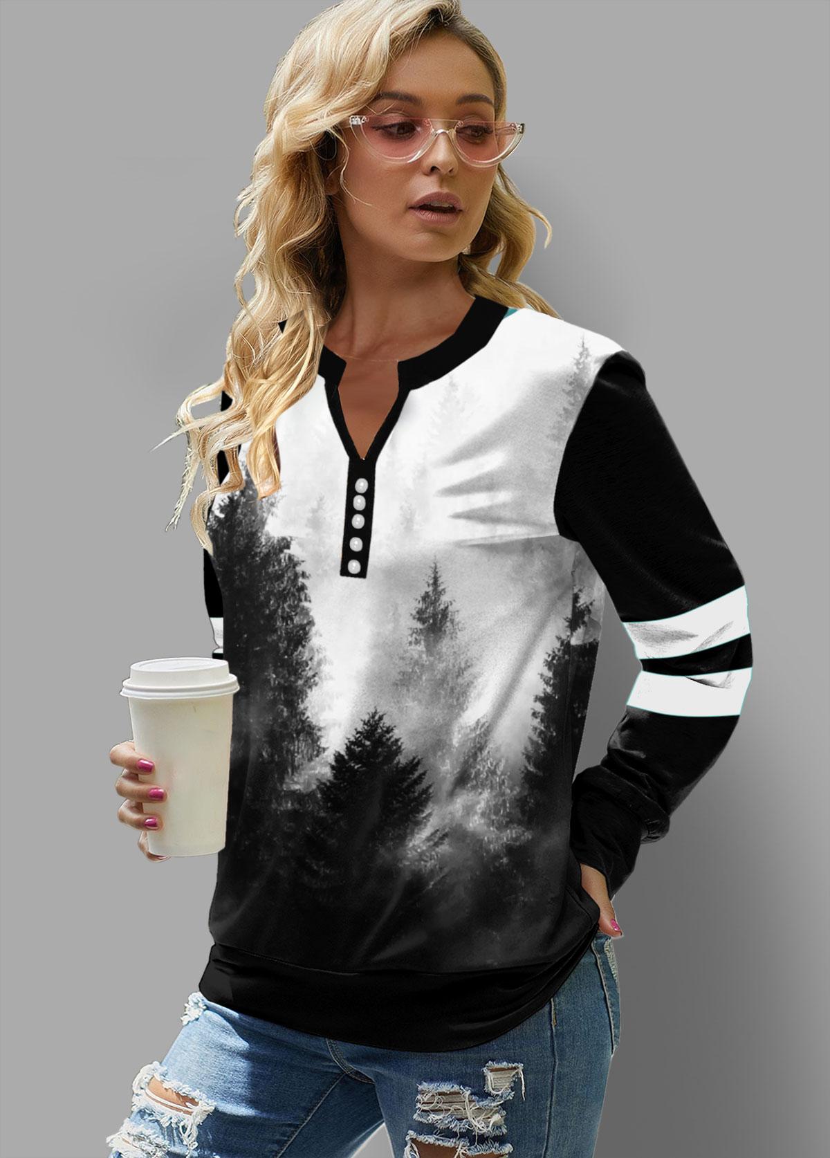 Ink Painting Print Split Neck Sweatshirt