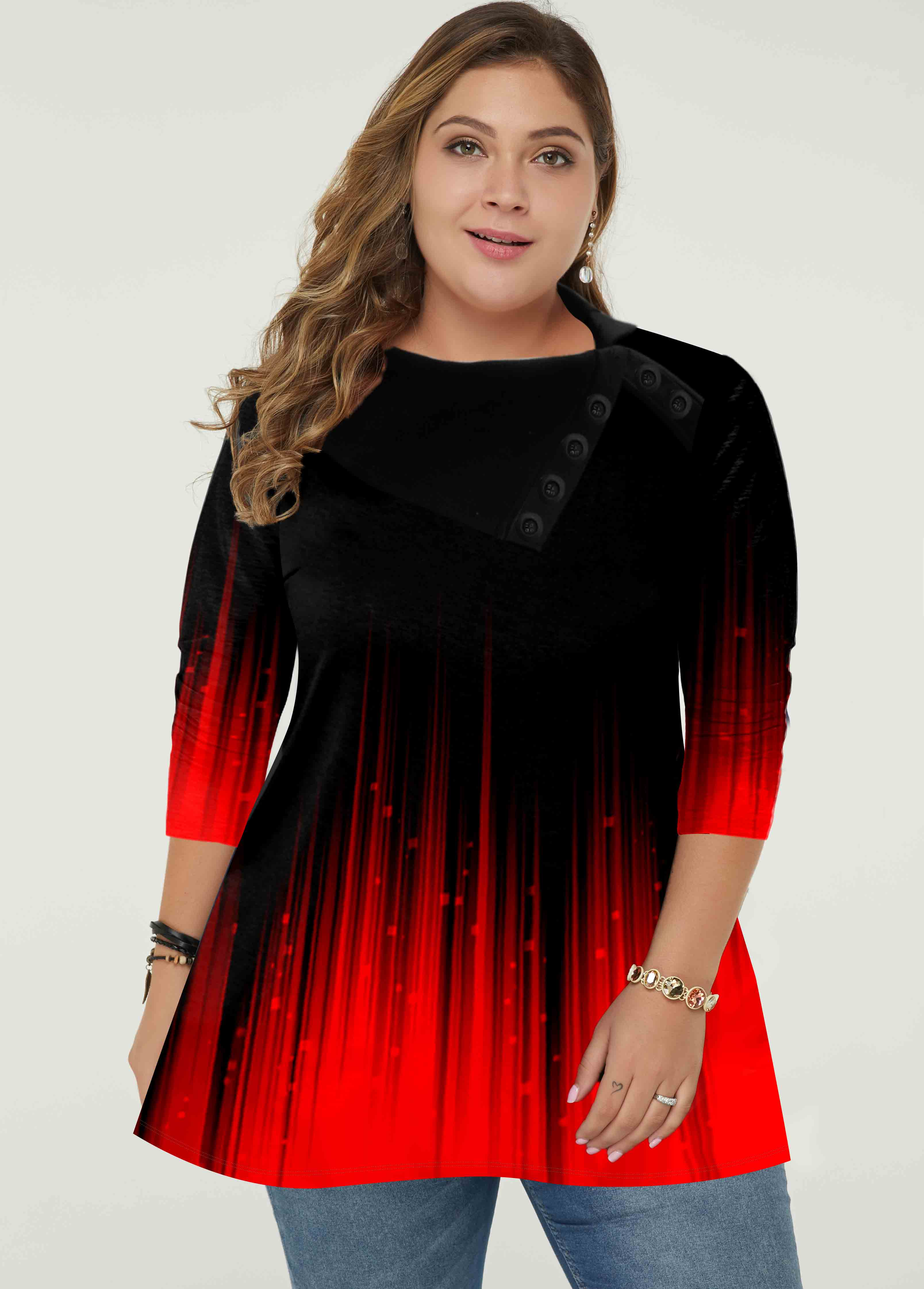 Plus Size Ombre Long Sleeve Tunic Top