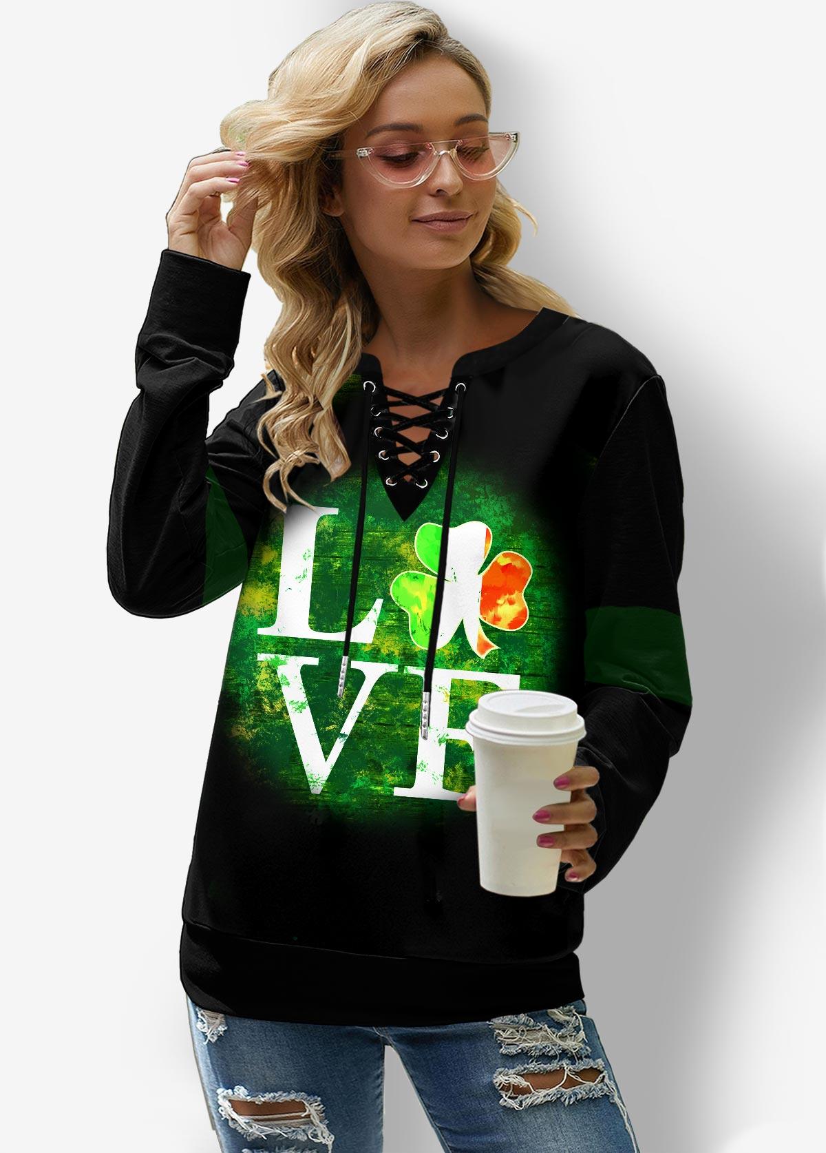 Letter Print Lace Up Long Sleeve Sweatshirt