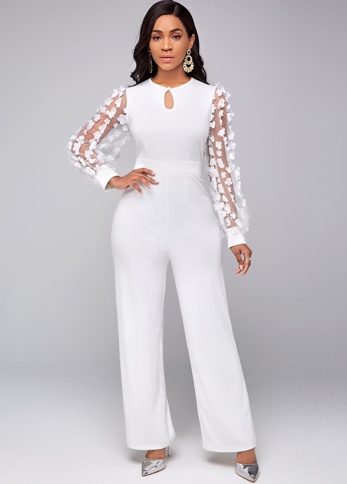 Lace Stitching Keyhole Neckline Long Sleeve Jumpsuit