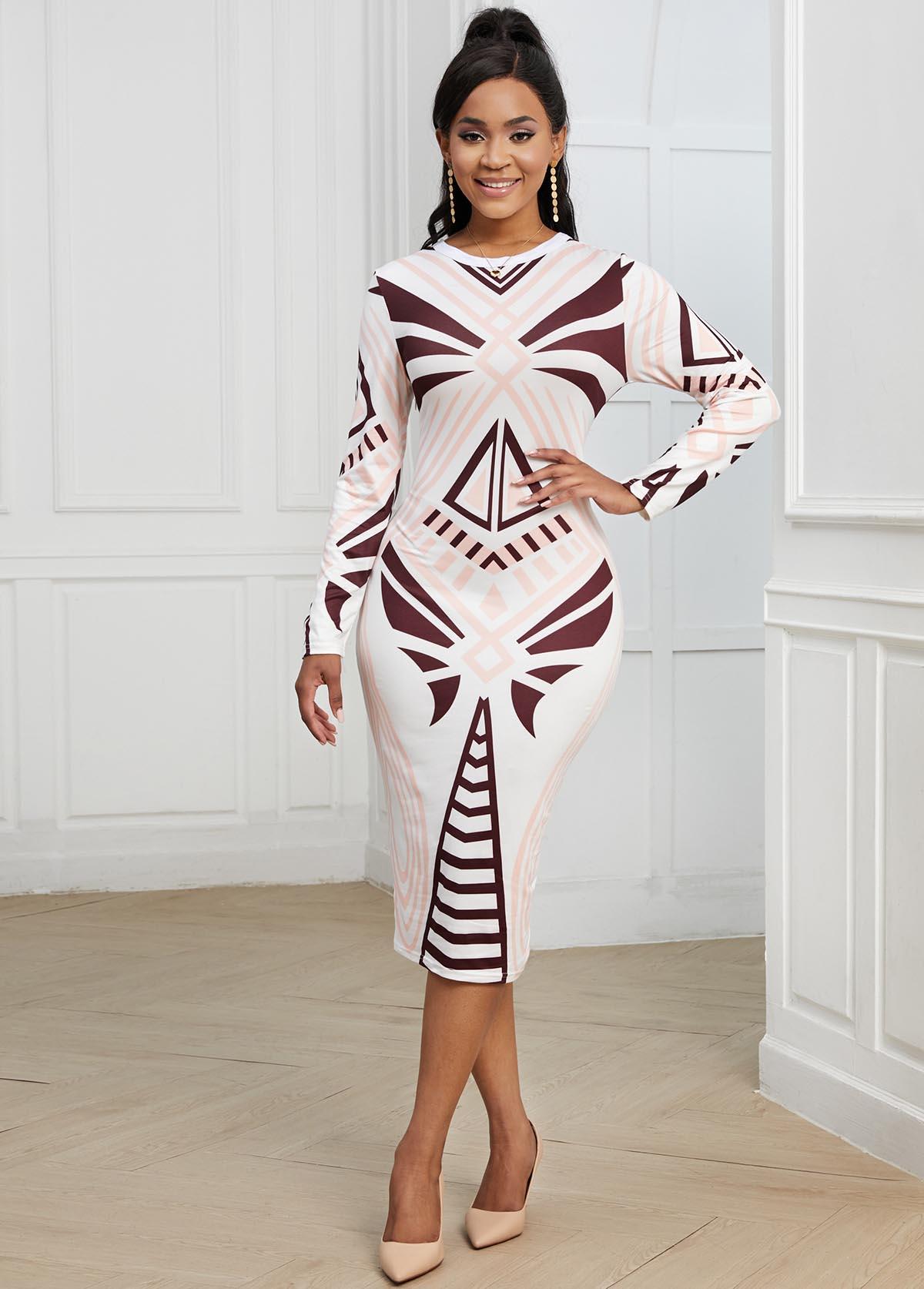 Geometric Print Round Neck Long Sleeve Dress