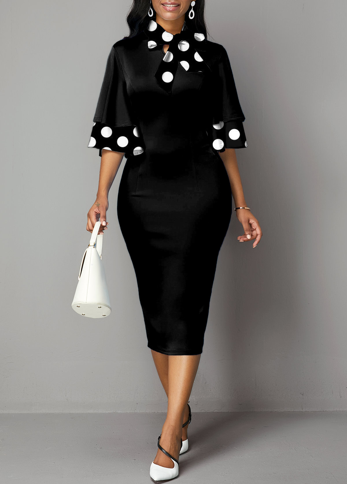 Polka Dot Bowknot Flare Sleeve Dress