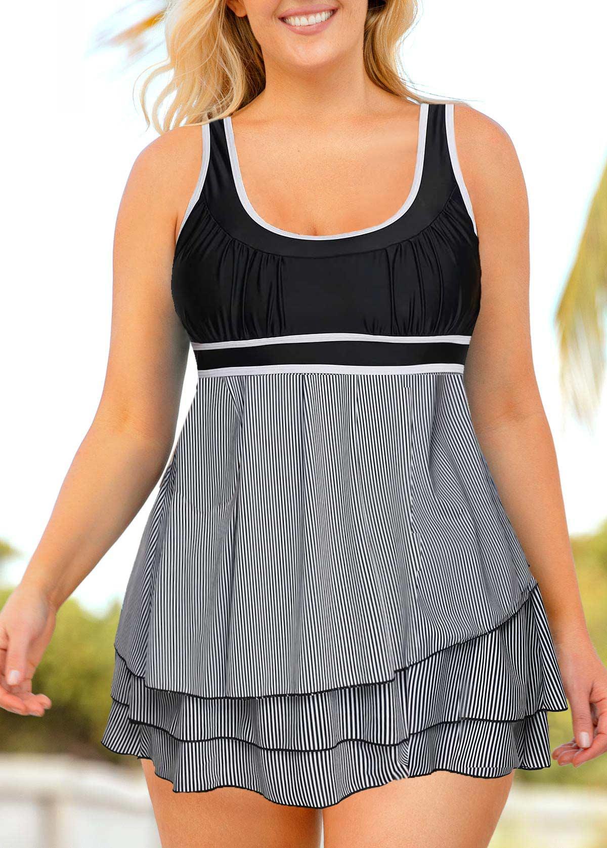Plus Size Layered Hem Striped Swimdress and Shorts