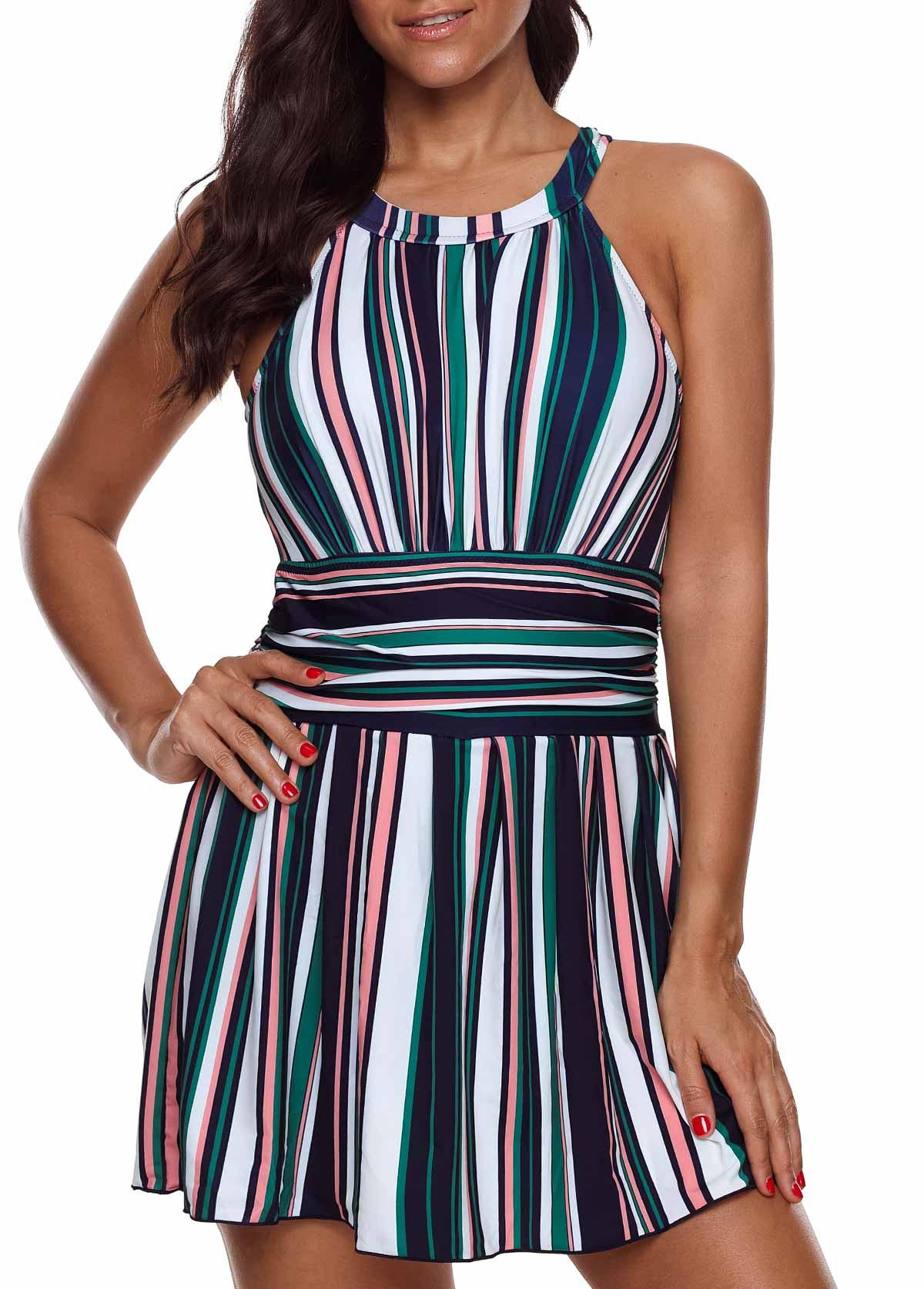 Plus Size Striped Cutout Back Swimdress and Shorts