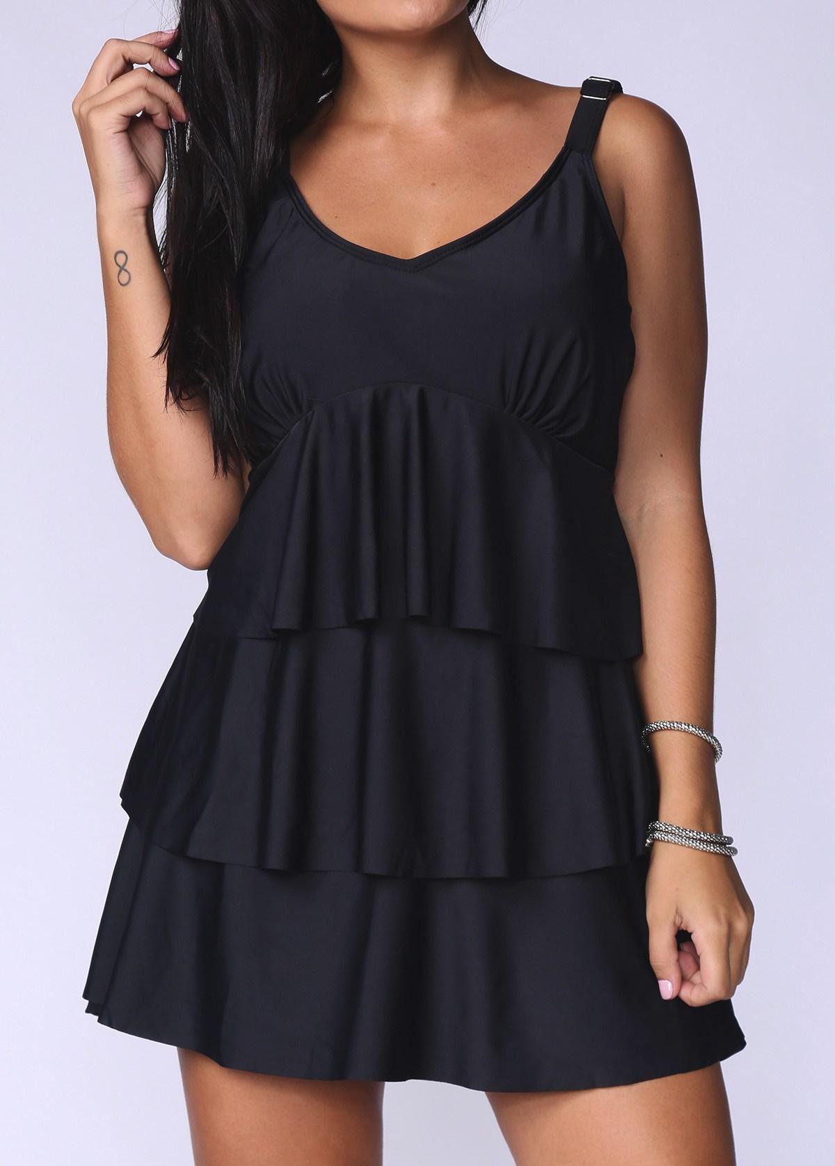 Plus Size Black Layered Ruffle Hem Swimdress and Panty