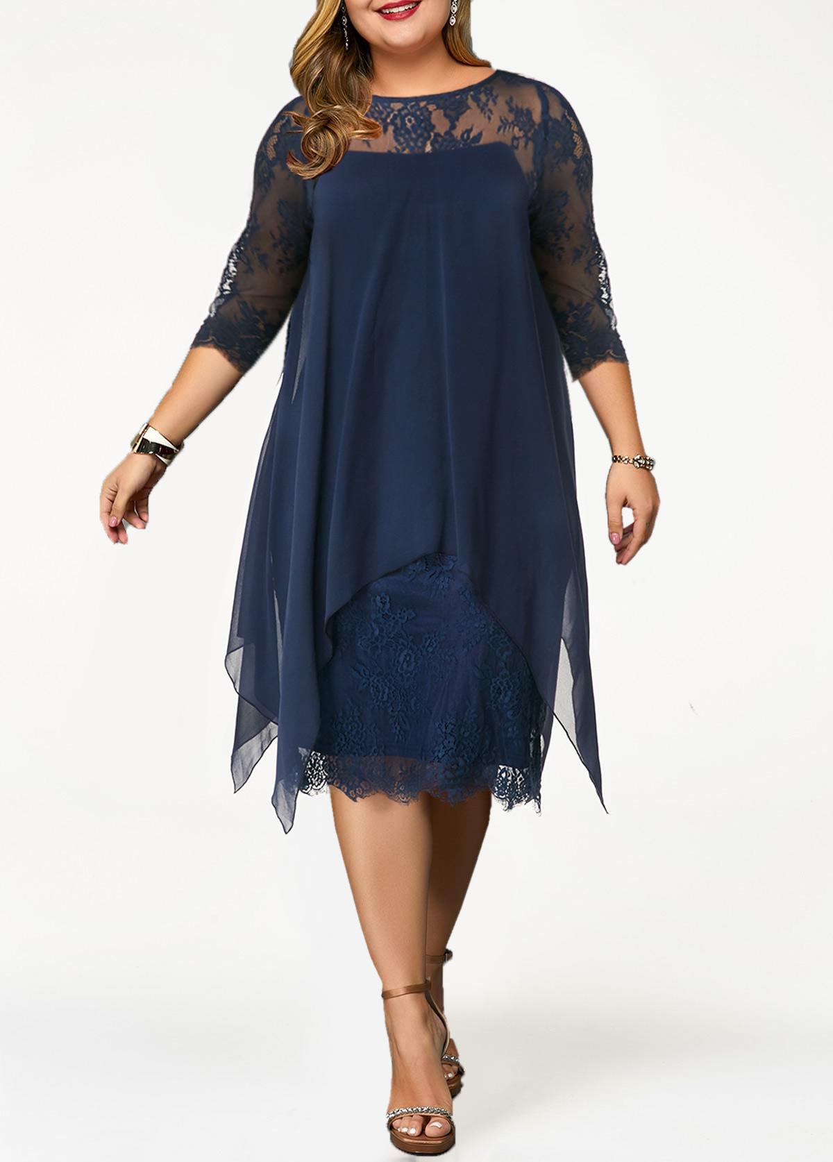 Plus Size Chiffon Overlay H Shape Lace Dress