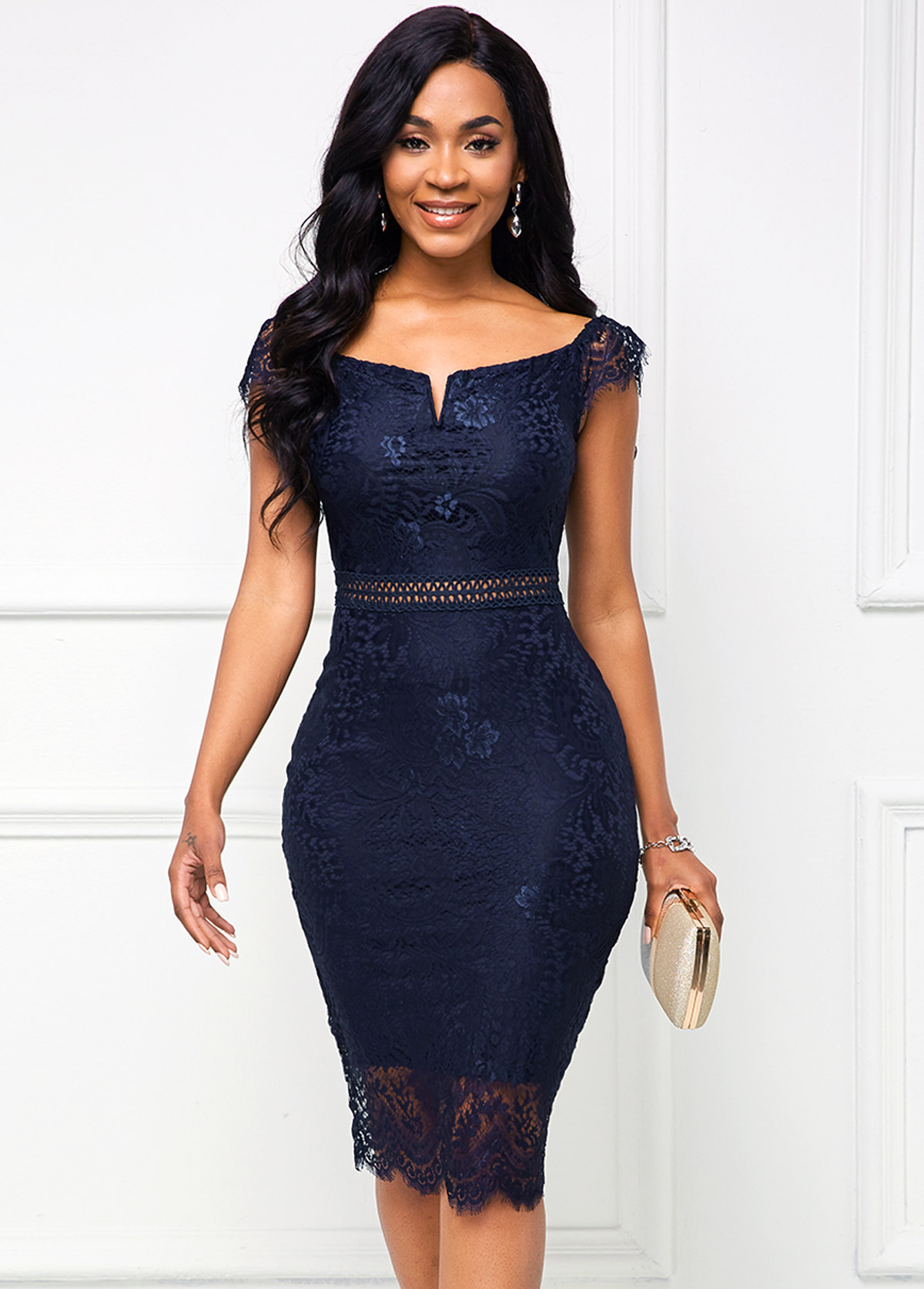 Cap Dress Lace Navy Blue Bodycon Dress