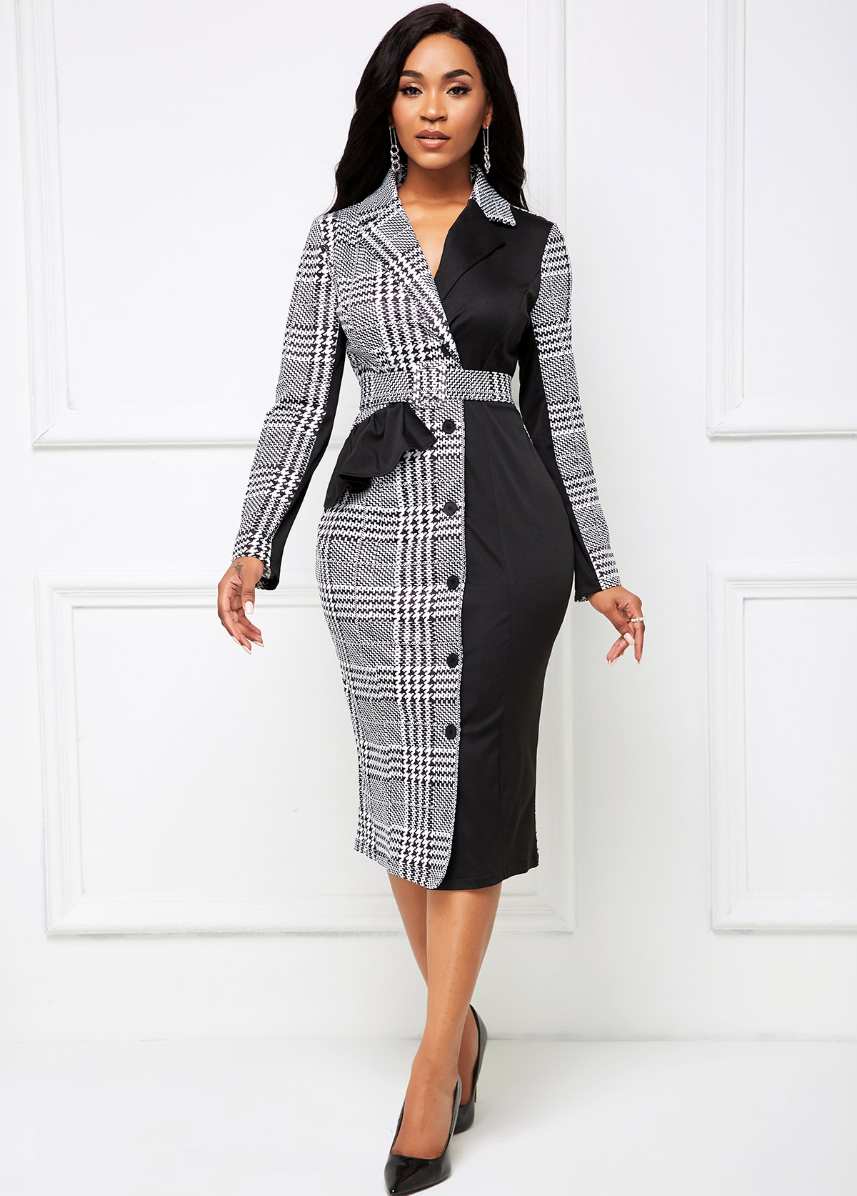 Buckle Belted Houndstooth Print Button Front Dress