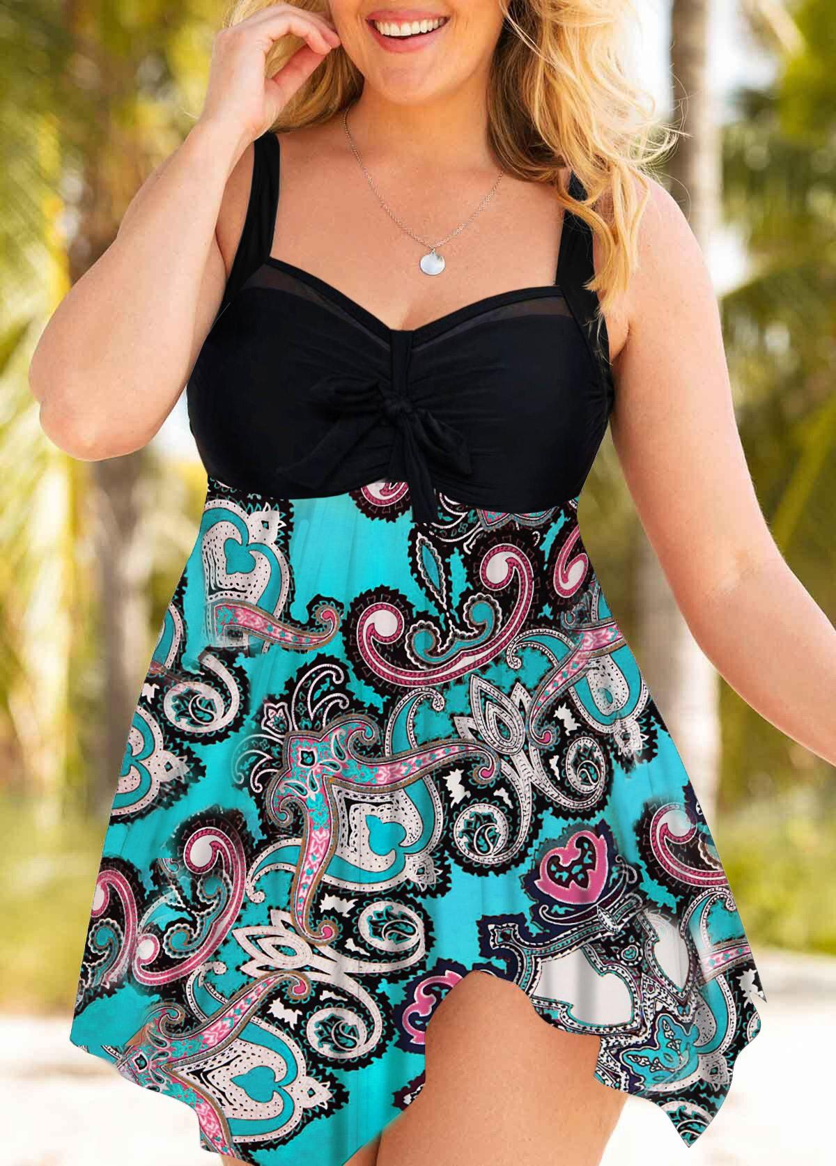 Plus Size Asymmetric Hem Paisley Print Swimdress and Shorts