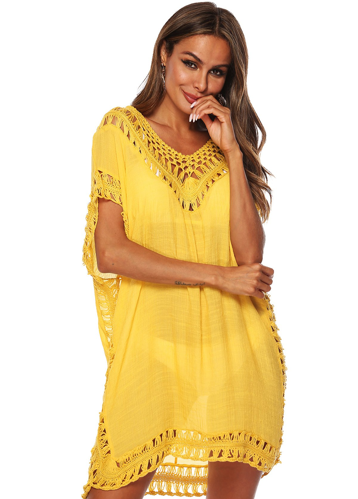 Pierced Yellow Short Sleeve Cover Up