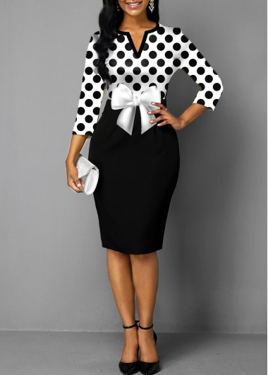 Polka Dot Bowknot Split Neck Dress - L