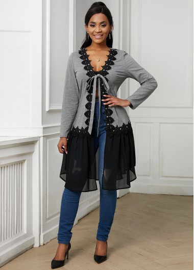 Lace Stitching Tie Front Long Sleeve Cardigan - L