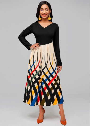 Rainbow Stripe V Neck Long Sleeve Dress - 2XL