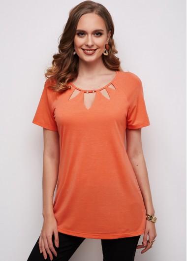Cage Neck Short Sleeve Orange T Shirt - L