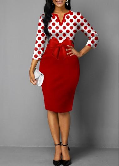 Rose Red Bowknot Belt Split Neck Red Polka Dot Dress - L
