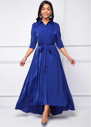 Turndown Collar Belted Button Up High Low Dress - L