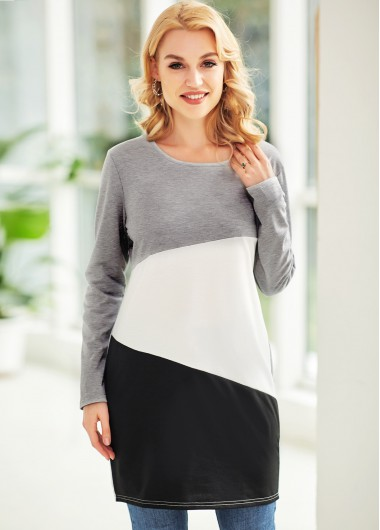 Contrast Round Neck Long Sleeve T Shirt - 2XL